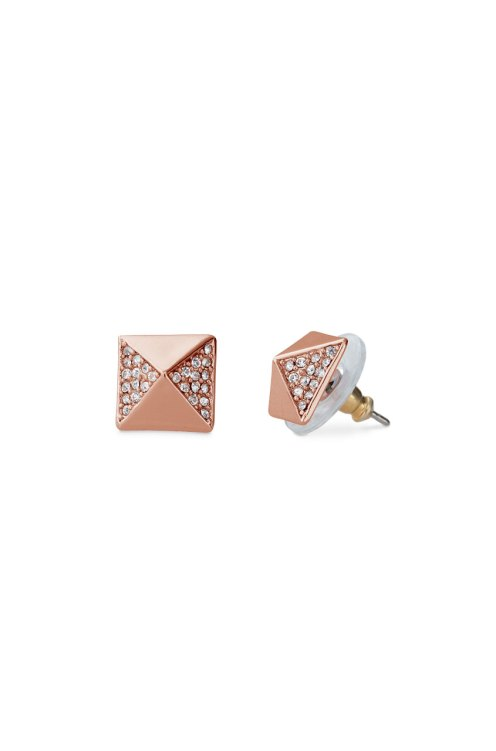 Rose Gold Pyramid Studs $29